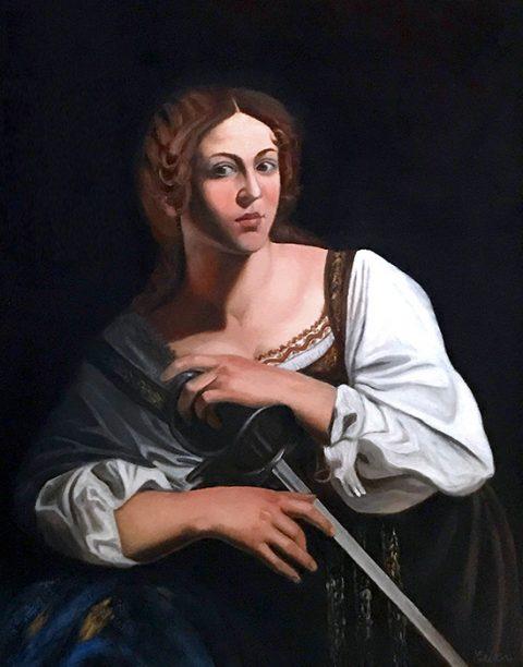 Catherine of Alexandria, based on Caravaggio's St. Catherine, detail